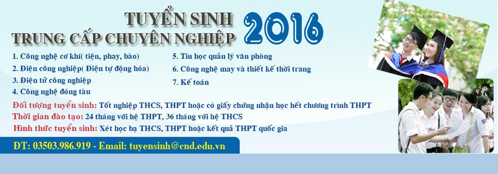 Thông tin tuyển sinh TCCN năm 2016